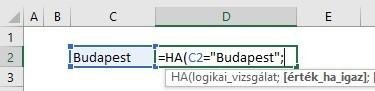 HA függvény szöveges cellára