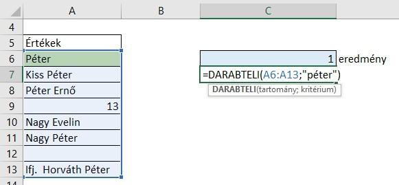 cellák megszámolása Excel