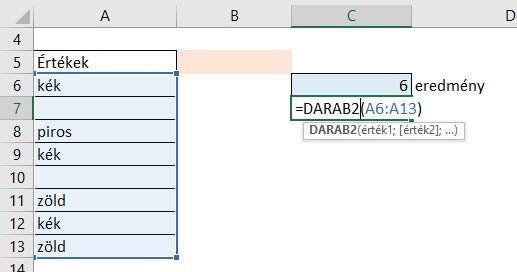 DARAB2 függvény
