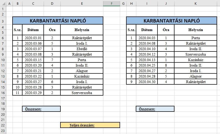 Excel SZUM függvény