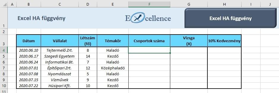 Excel ha függvény