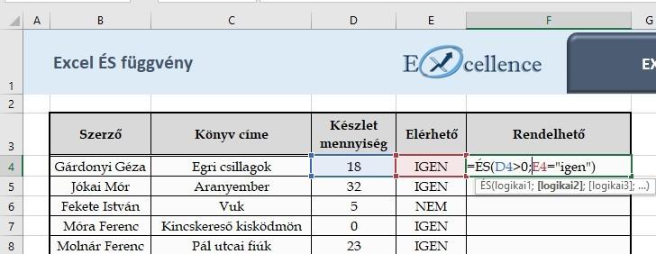 Excel ÉS függvény példa