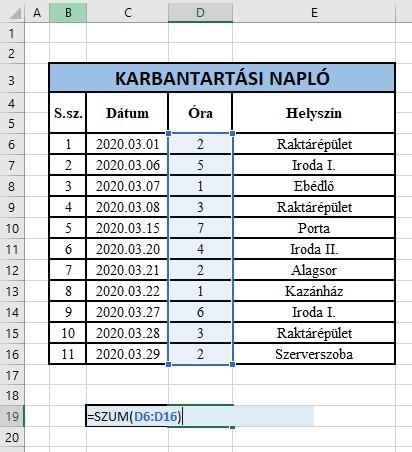 Excel szum függvény használata