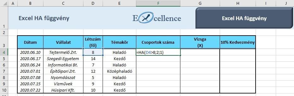 Excel HA függvény példa
