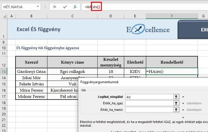 Excel ÉS függvény HA függvénnyel