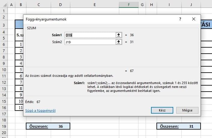 SZUM függvény Excelben