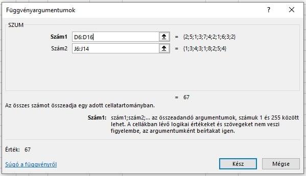 Excel SZUM függvény példa