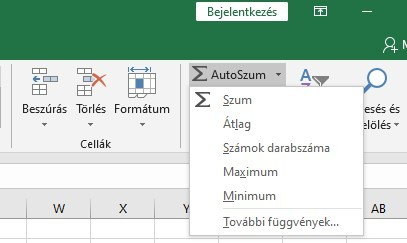 Excel alapfüggvények