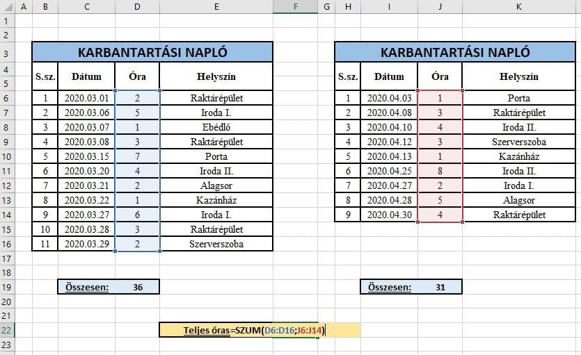 Excel szum függvény két tartomány