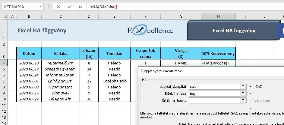 Excel ha függvény egymásba ágyazás
