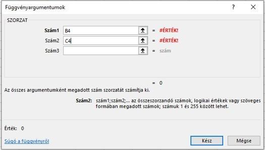 Excel függvény hiba