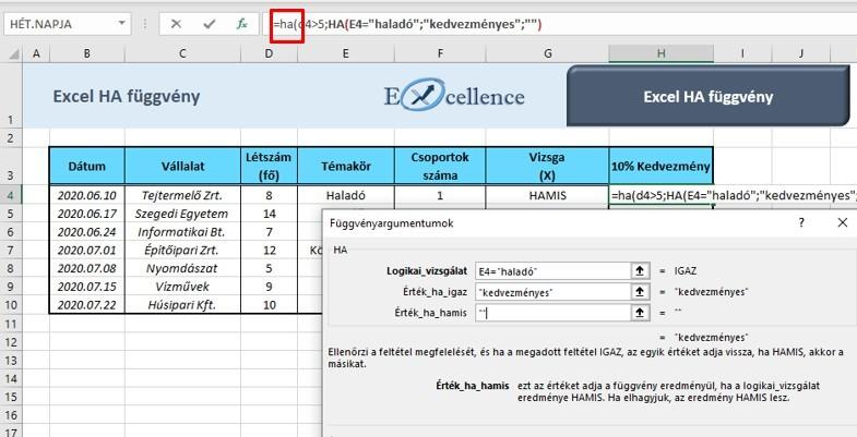 Excel ha függvények egymásba ágyazása