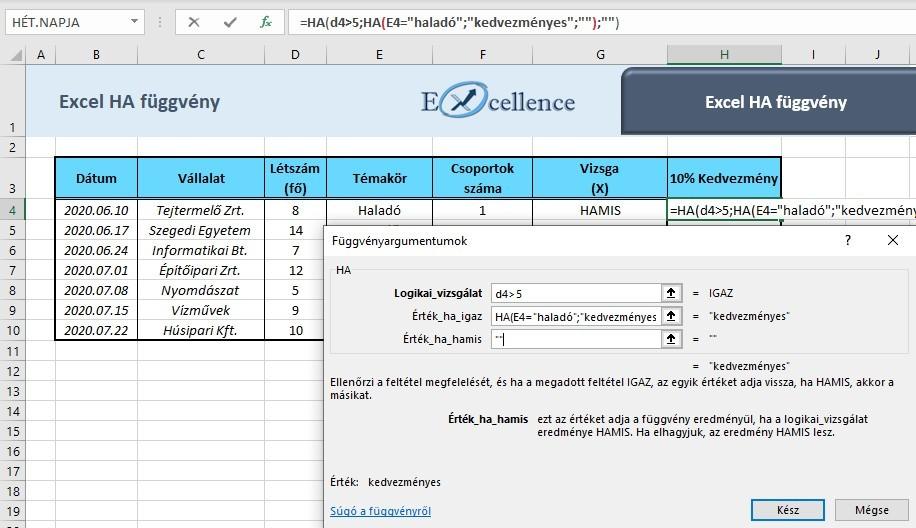 Excel ha függvény feladat