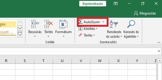 Excel szum függvény autoszum
