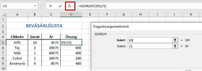 Excel függvények módosítása