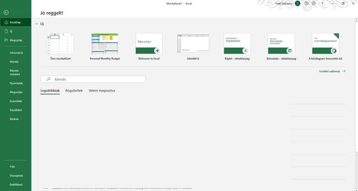 Excel megnyitása