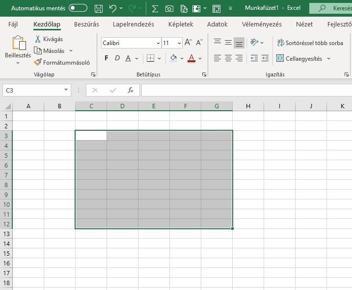 Excel cellatartomány
