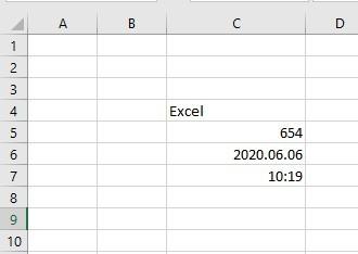 Excel adattípusok