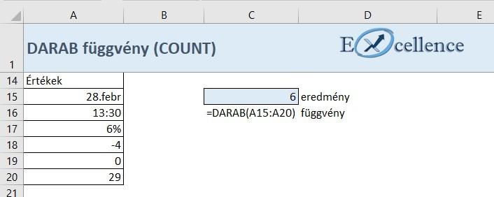 DARAB függvény 2. feladat