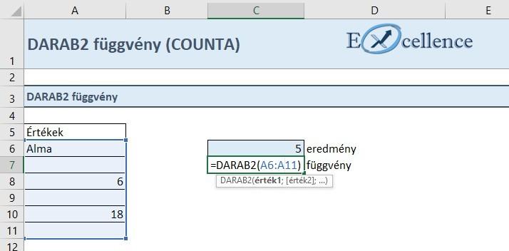 DARAB2 függvény működése
